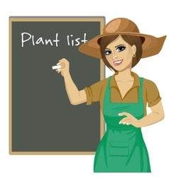 Gardener woman in green overalls vector