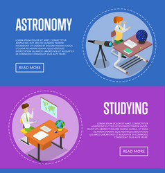 Geography and astronomy studying at school vector