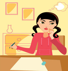 Girl-studying vector image