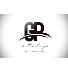 Gp g p letter logo design with swoosh and black vector