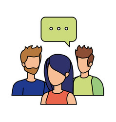 Group of people with speech bubble characters vector
