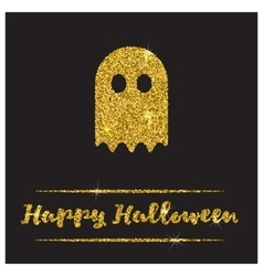Halloween gold textured ghost icon vector image