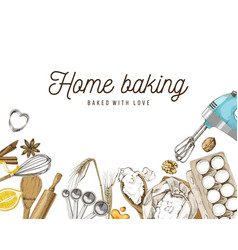 hand drawn baking background vector image