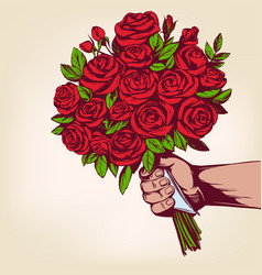 Hand gives a bouquet flower roses greeting vector