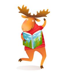 Happy moose or elk reading book in winter clothes vector