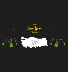 Happy new year theme with map of turkey vector