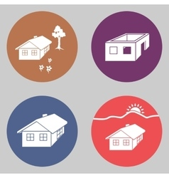 House icon set Finished unfinished building vector