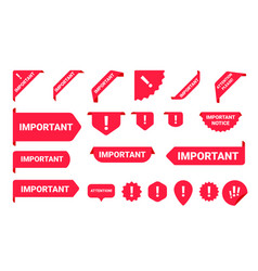 important notice information banner label set vector image