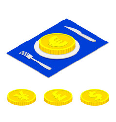 Isometric 3d euro coin on plate vector