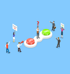 isometric concept choosing yes or no vector image