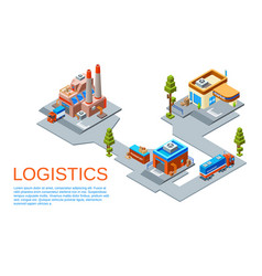 isometric logistics transportation concept vector image