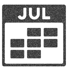 July Calendar Grid Grainy Texture Icon vector
