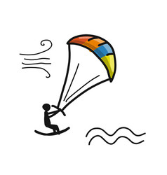 kiteboarding sketch for your design vector image