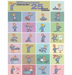 large set businessman character vector image