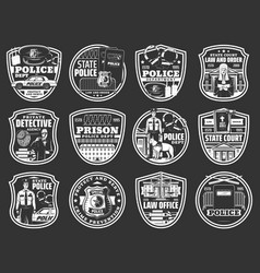 law and order icons police detective justice vector image