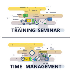 Line art training seminar poster banner vector