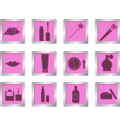 makeup icons on square buttons vector image