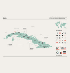 map cuba high detailed country map with vector image