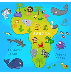 Map of africa with animals vector