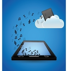 Mobile music cloud upload note vector