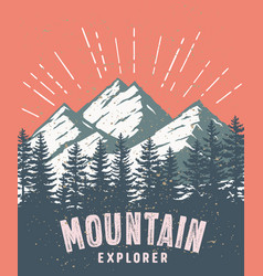 Mountain and landscape color image vector