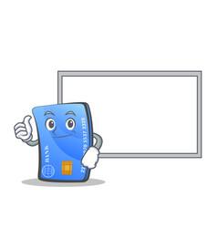 Okay credit card character cartoon with board vector