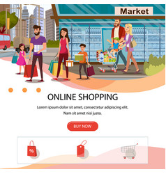 Online shopping flat landing page template vector