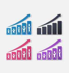 Paper clipped sticker growing graph vector