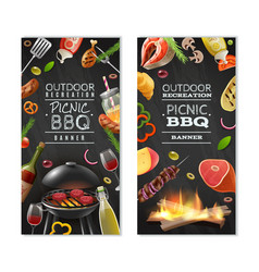 Picnic barbecue vertical banners vector