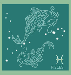 Pisces zodiac sign constellation vector