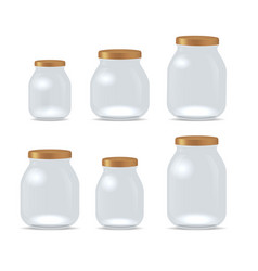 Realistic detailed 3d empty glass jar for jam set vector