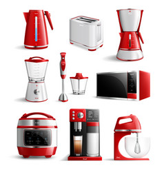 realistic household kitchen appliances icon set vector image