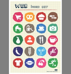 Rest food and hobby icons set drawn by chalk vector
