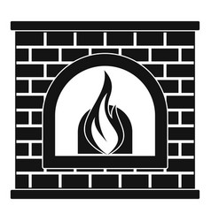retro fireplace icon simple style vector image