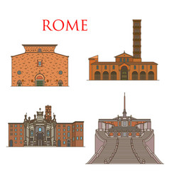 rome architecture landmarks italy famous buildings vector image