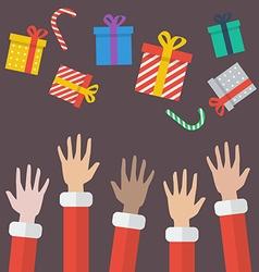 Santa Hands With Christmas Gift box vector