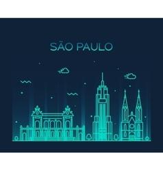 Sao Paulo skyline trendy linear style vector image