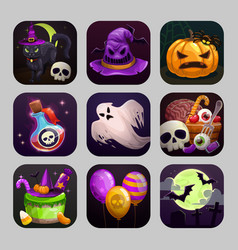 Scary cartoon app icons with halloween attributes vector