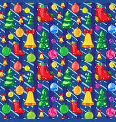 seamless pattern with christmas toys vector image