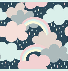 seamless pattern with clouds rainbow and drops vector image
