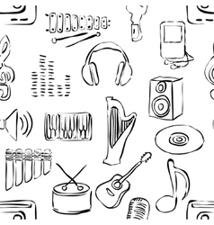 seamless sketch music pattern vector image