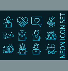 set family blue glowing neon icons vector image