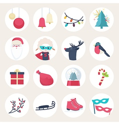 Set of colourful New Year icons vector image