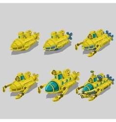 Set of six submarine cleaner of garbage vector