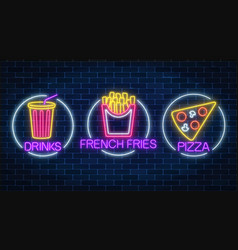 Set of three neon glowing signs of french fries vector