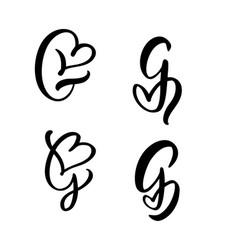 set vintage floral letter monogram g vector image