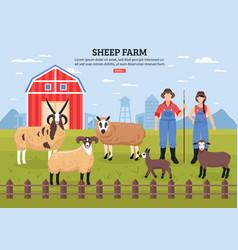 sheep farm poster vector image