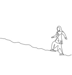 Single one line drawing young arabian business vector