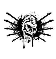 skull with silhouette guitars vector image
