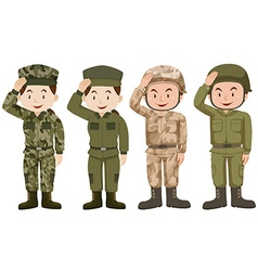 Soldiers in green and brown uniform vector image